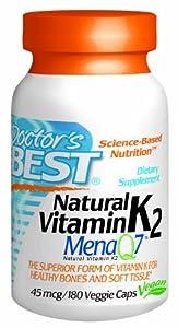Doctor's Best Natural Vitamin K2 MenaQ7 Capsules, 180 Count
