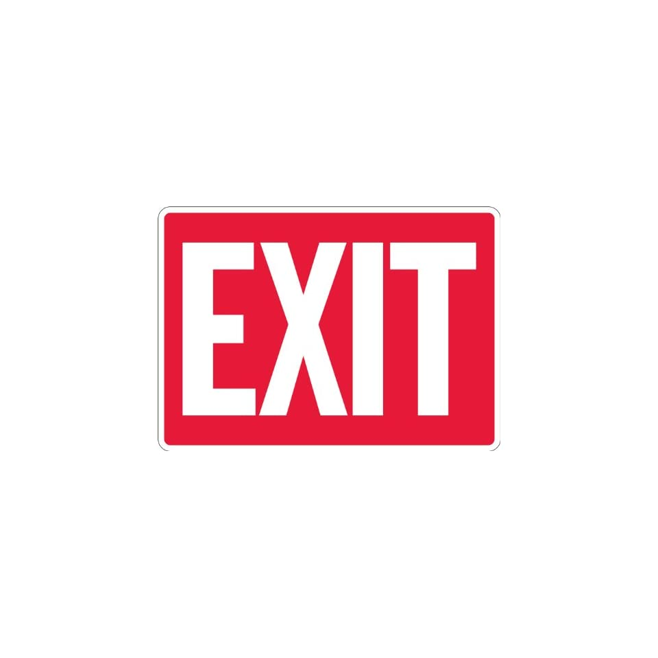 SmartSign Adhesive Vinyl Label, Legend Exit, 10 high x 14 wide, White on Red