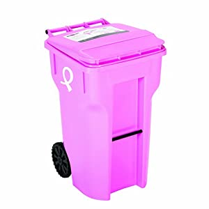 64 gallon pink color with breast cancer awareness logo heavy duty trash can with wheels and - Pink kitchen trash can ...