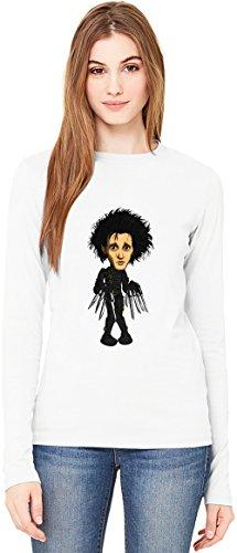 Edward Scissorhands sketch T-Shirt da Donna a Maniche Lunghe Long-Sleeve T-shirt For Women| 100% Premium Cotton Ultimate Comfort Small