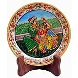 JaipurCrafts Mughal Raja Rani Stoneware Decorative Platter (Multicolor, Pack Of 2)