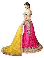 Silvermoon women's Net Embroidered heavy lehenga choli-sm_NMNZA327_Pink and Yellow_free size