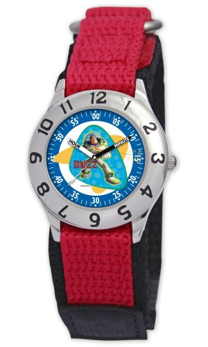 Disney Kids' D011S505 Toy Story Time Teacher Red Velcro Watch