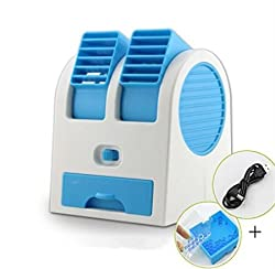 CONNECTWIDE® Mini Fan & Portable Dual Bladeless Small Air Conditioner Water Air Cooler Powered by USB & Battery