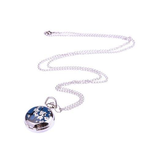 Bestdealusa Blue Elegant Stylish Flower Design Quartz Clock Pendant Pocket Watch