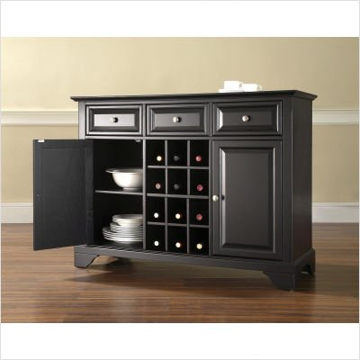 Crosley Furniture LaFayette Buffet Server , Sideboard Cabinet in Black Finish