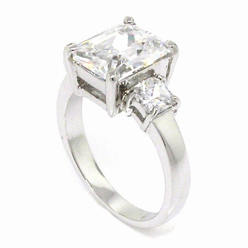 Sterling Silver Classic Engagement Ring w/Rectangular Radiant White CZ Size 8