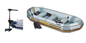 Buy INTEX Mariner 4 Inflatable Raft River Lake Dinghy Boat Set & Motor Mount Kit by Intex