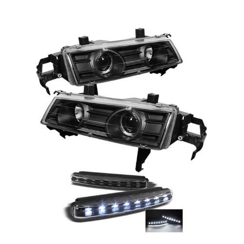 Honda Prelude Projector Headlights LED Halo Black Housing With Clear Lens (96 Honda Prelude Halo Headlights compare prices)