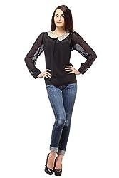 Femme India Women Poly Georgette Black Peter Pan Sequnece Top