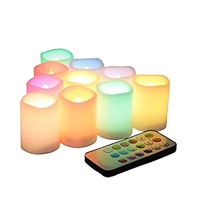 Candle Choice Set of 10 Color Changing, Multi-color Flameless LED Votive Candles with Remote and Timer