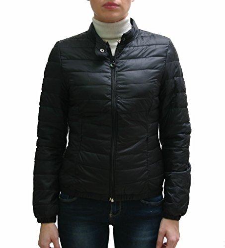 JustGlam - Piumino donna ultra light 100 gr leggero giacca c/vera eco piuma d'oca caldo e pratico c/collo pistagna made in italy / nero xl