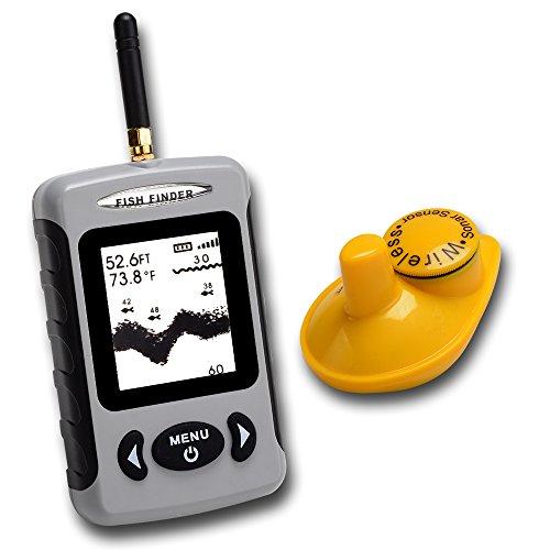 Fish Finder RISEPRO(TM) Wireless Sensor Sonar Fishfinder 433MHz Sea Contour Thermometer °C/°F 70m 230ft FFW-718