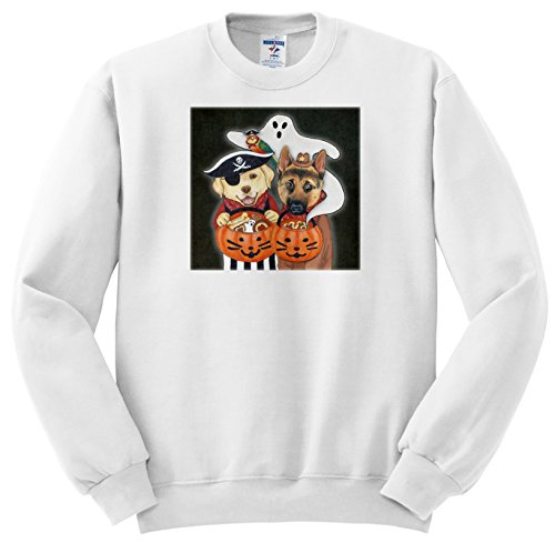 ss_221197 Laura J. Holman Art - Halloween Dogs - Labrador, Shepherd, and parrot in costume with a ghost. - Sweatshirts