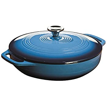 Lodge EC3CC33 Enameled Cast Iron Covered Casserole, 3-Quart, Caribbean Blue