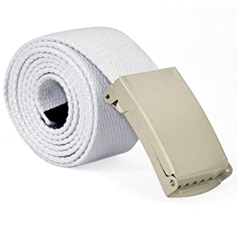 TRIXES Mens White Plain Webbing Canvas Belt Will Fit up to 36 Inches