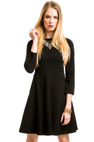 Mesh Lace Skater Dress In Black