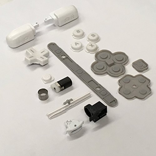 AWCHIP Complete White Button Set Rubber Pad hinge parts Lock Axle Shaft Hinge Barrel For Nintendo 3DS XL (Slide Pad 3ds Xl compare prices)