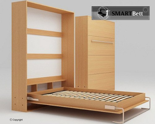 SMARTBETT Schrankbett Gästebett murphy bed140x200 vertikal Buche günstig online kaufen