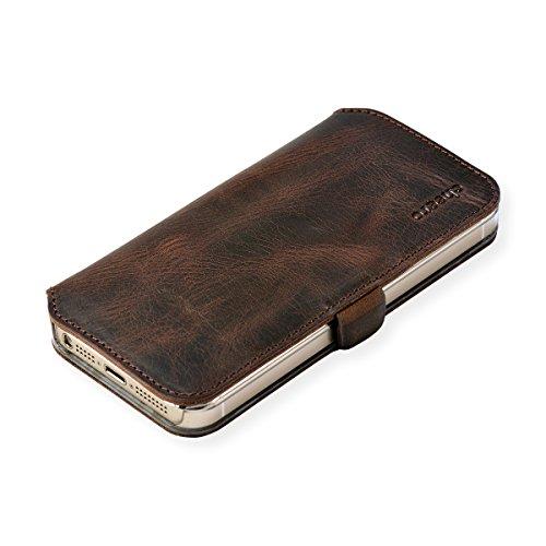 cheero Leather Case iPhone5/5s (Book type) -本革(牛)- (iPhone5/5s, ヴィンテージ ダークブラウン)