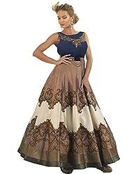 Rozdeal New Black & Copper Bhagalpuri Digital Print Designer Gown