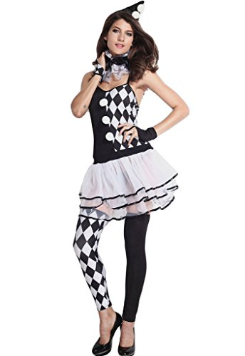 Chase Secret Women's 6pcs Black and White Harlequin Clown Costume