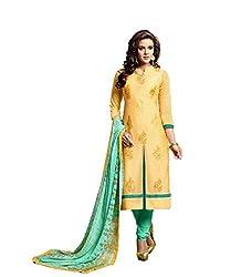 KANHA TRADING Women's Chanderi Cotton Dress Material(KANHA TRADING 713_Lemon_Freesize)