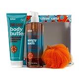 A Citrus Carol Set: Blood Orange + White Pepper Body Butter 200ml + Body Wash 473.2ml + Shower Pouf 3pcs