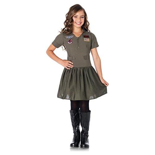 GSG Top Gun Girls Flight Dress Costume Kids Maverick or Goose Fancy Dress (Mexican Fancy Dress Costume)