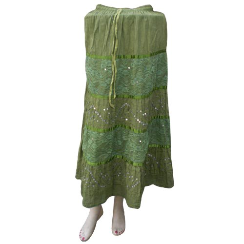 Handmade Embroidered Cotton Skirts With Adustable Doori, Inside Lining, Netted, Sequins And Strips (Free Shipping) Skrt0003r