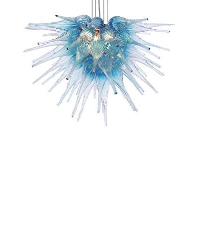 D'fine Lighting Celestial LED Art Glass Chandelier, Aqua