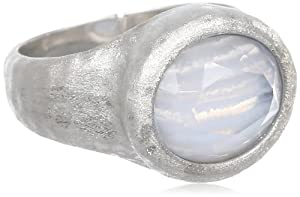 Sterling Silver Blue Lace Agate and White Glass Doublets Hammered Oval Ring, Size 7