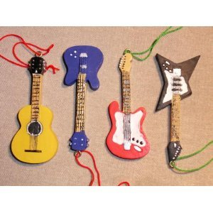 Set of 4 GUITAR ORNAMENTS BASS Electric ACCOUSTIC styles