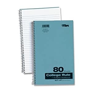 TOPS Kraft Cover Notebook, 9.5 x 6 Inch, College Rule, 80 Sheets, Blue (65121)