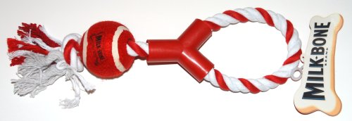 Milk-Bone 15 Inch Knotted Rope with Red Ball Play Chew Dog Toy - Red and White (1 Toy)