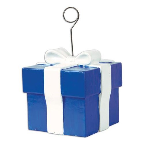 Blue Gift Box Photo/Balloon Holder Party Accessory (1 count)
