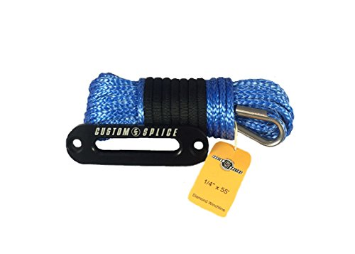 14-x-55-Diamond-Winch-Rope-ATV-UTV-Winch-Rope-with-Tube-Thimble-and-6-Inch-Hawse-Fairlead-Blue-Rope-Black-Fairlead