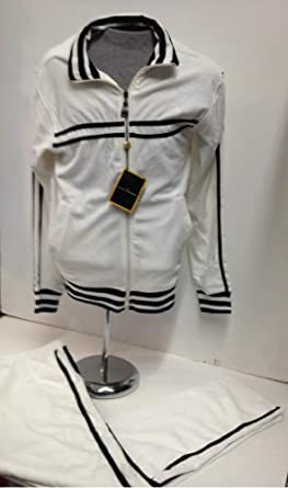 Buy New Mens Stacy Adams White Velour Jogging Track Suit with Black Trim by New Era Factory Outlet