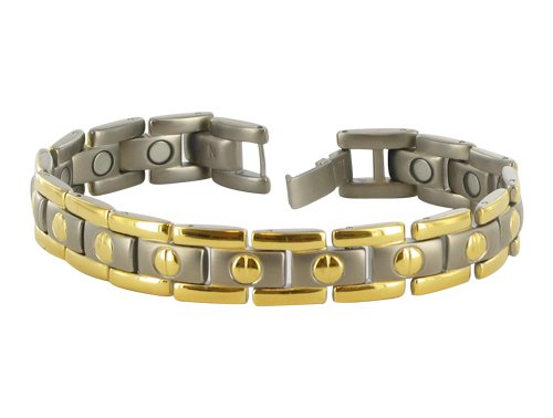 11 MM Two Tone Titanium Magnetic Link Bracelet 8.5″