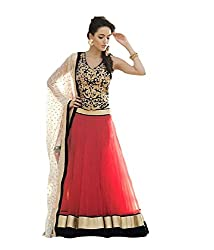 Ava Silk Mills Women Velvet & Net Lehenga (ava68020lt_Red and Black_Red and Black_Free Size)