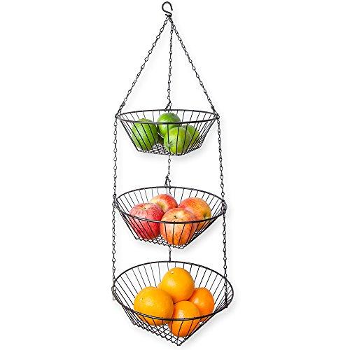 Home Basics 3-Tier Wire Hanging Basket, Black (Black Hanging Kitchen Baskets compare prices)
