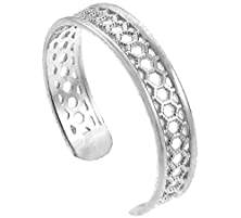 buy 10K White Gold Medieval Motif Chainmail Toe Ring