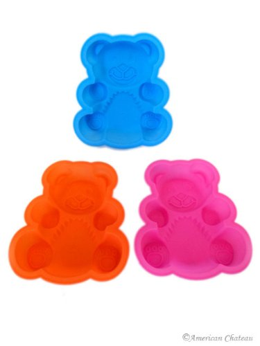 Set 3 Silicone Kids Bear Baking Molds Assorted Colors (Oven/Freezer/Microwave)