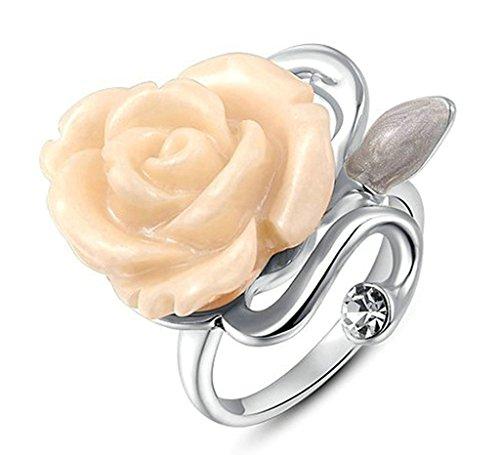 alimab gioielli-anello placcato oro bianco Rose d' Oro Bianco, placcato oro, 7, colore: Oro bianco, cod. xxjiezhityix704