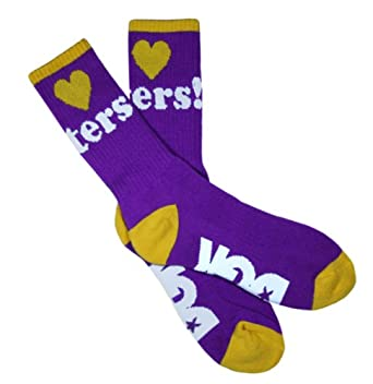 DGK I Love Heart Haters Crew Socks - OSFA (Various Colors & Styles) (Purple/Yellow)