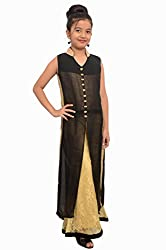 Titrit Black and Golden partry wear long cape dress with legging