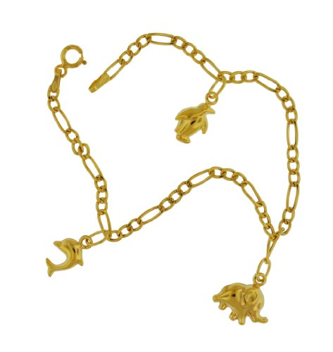 9ct Yellow Gold 3 Animals Charms Bracelet 18cm