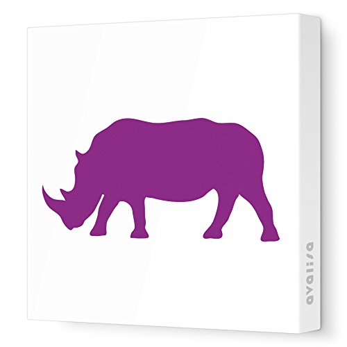 "Avalisa Stretched Canvas Rhino Nursery Wall Art, Purple, 18"" X 18"" front-105038"