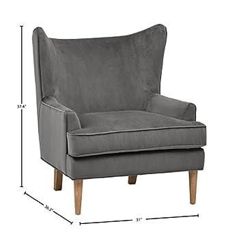 Rivet Chelsea Velvet Wing-Back Accent Chair, Otter Grey