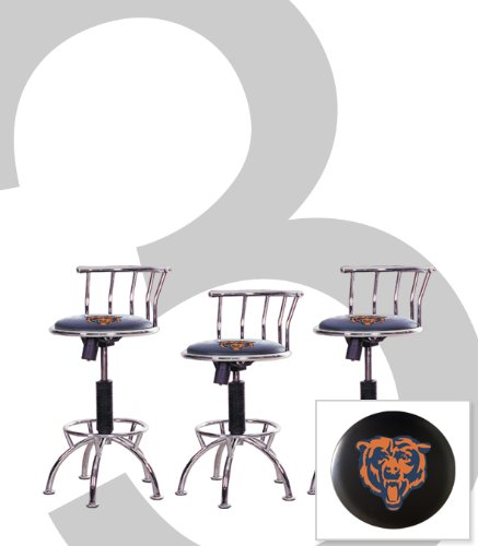 """3 New Chicago Bears Themed Adjustable Height 24""""-29"""" Chrome Metal Finish Swivel Seat Bar Stools! front-1010224"""